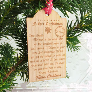 Baby's First Christmas Letter Wooden Tag Decoration - keepsakes
