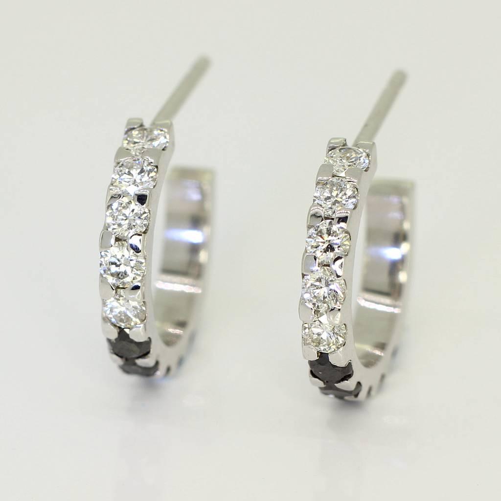 469f9880a96ee White Gold Diamond Huggie Earrings