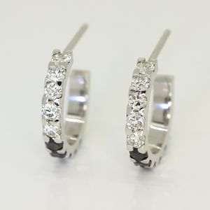 White Gold Diamond Huggie Earrings - earrings