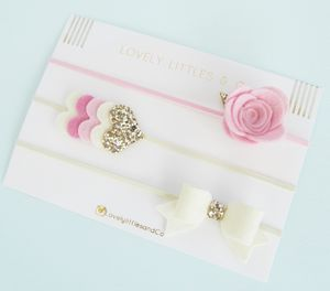 Rose Hair Bow Band Set - combs & hair pins