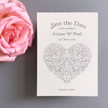 Heart Vintage Style Save The Date Card
