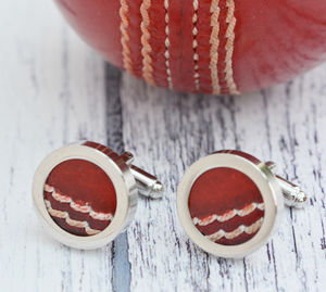 Genuine Cricket Ball Cufflinks - cufflinks