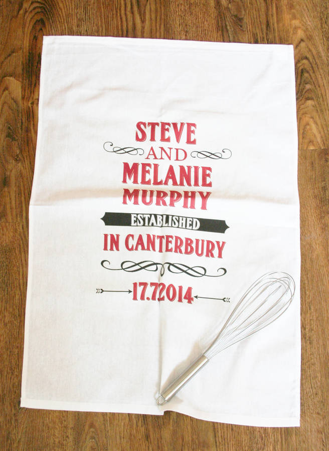 Personalised Established Anniversary Tea Towel Cotton