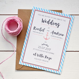 Nautical Stripe Wedding Invitation - invitations
