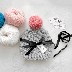 Beginner's Pom Pom Hat Knitting Kit - sale