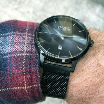 Gents Black Mesh Strap Wallop Watch