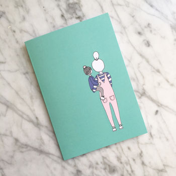Mother Carrying Child Greeting Card