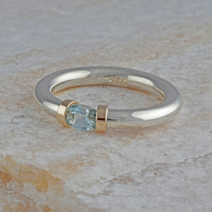 Aquamarine Tension Set Ring - rings