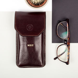 Personalised Leather Glasses Case. 'The Gabbro' - 80th birthday gifts