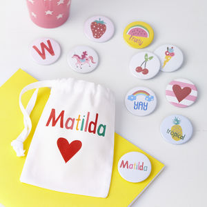 Girls Personalised Badges Or Magnets