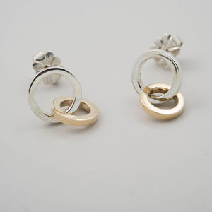 Sterling Silver And 9ct Gold Unity Earrings - earrings