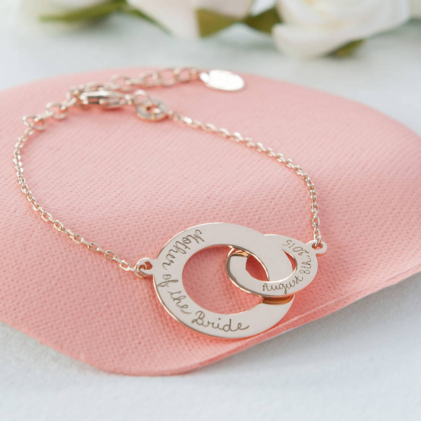 Personalised Mother Of The Bride Intertwined Chain Bracelet With Date