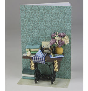 Personalised Miniature Sewing Scene Greetings Card - mother's day cards