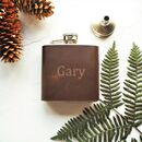 Custom Name Leather Hip Flask