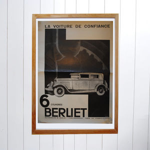 Original Berilet Six Cylindres Art Deco Car Poster