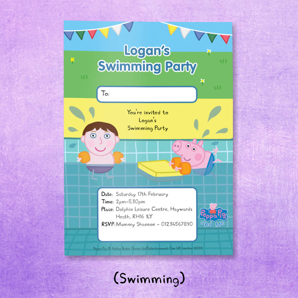 Personalised Peppa Pig Party Invitations