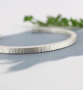 Mens Personalised Chunky Silver Textured Bracelet