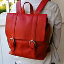 Red Leather Buckle Backpack