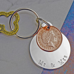 'Mr And Mrs' Year Of Marriage Keyring - 10th anniversary: tin