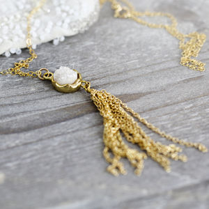 White Druzy And Gold Chain Tassel Necklace