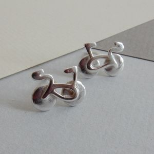Silver Bicycle Stud Earrings - earrings