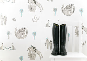 Horse Tales: White, Grey And Turquoise - children's room