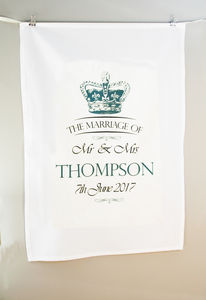 Personalised Wedding Vintage Crown Marriage Tea Towel - kitchen accessories