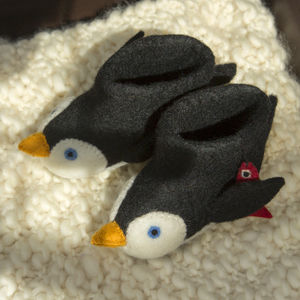 Pete The Penguin Children's Felt Slippers - children's slippers