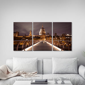 Millenium Bridge Triptych Canvas Wall Art - paintings & canvases