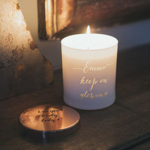Glow Through Personalised Message Candle - gifts for friends