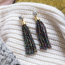 Iridescent Beaded Drop Earrings