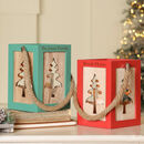 Scandi Christmas Tree Wooden Lanterns