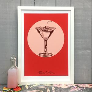Manhattan Cocktail Giclée Fine Art Print - food & drink prints