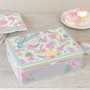 Personalised Floral Six Section Tea Box Gift