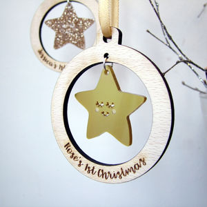 Personalised Baby's First Christmas Star Bauble - tree decorations