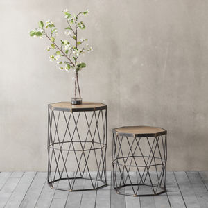 Set Of Two Wooden Top Side Tables   Scandi Home Decor
