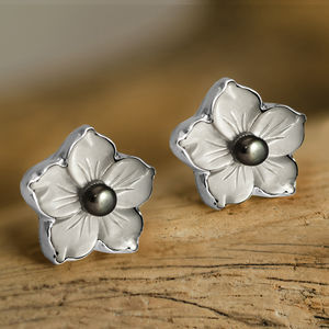 Contemporary Mother Of Pearl Flower Earrings