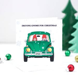 'Driving Gnome For Christmas' Card - cards