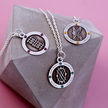 Decorative Sterling Silver Birthstone Initial Necklace