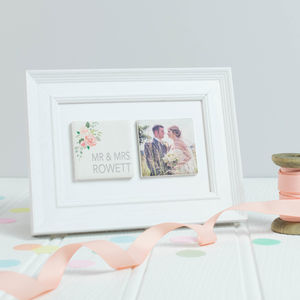 Personalised Floral Wedding Photo And Wording Tile Duo