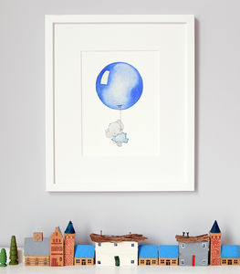 Personalised Blue Balloon Nursery Print