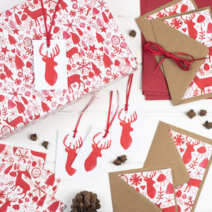 Scandi Stag Christmas Mega Wrapping Paper Kit - wrapping paper