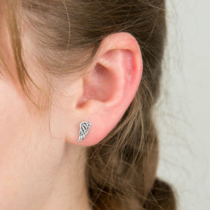 Angel Wings Silver Studs - earrings