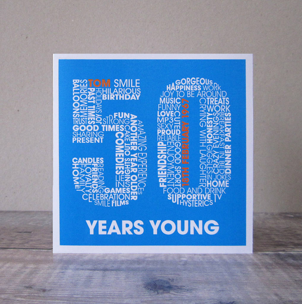 Personalised Fiftieth Birthday Card With Typography For Men