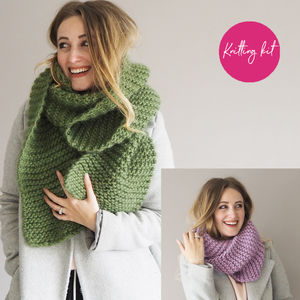 Scarf And Snood Knitting Kit - creative kits & experiences
