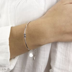 Personalised Silver Knot Bangle - women's sale