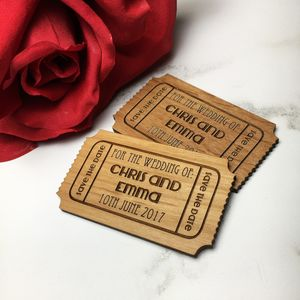 Magnetic Save The Date Wooden Tickets - wedding stationery