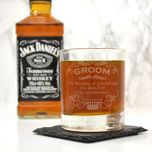 Personalised Whiskey Glass For The Groom - tumblers & Hiballs