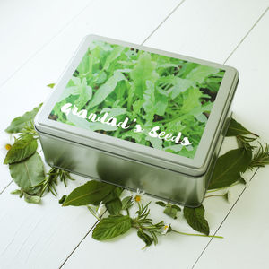 Personalised Printed Seed Tin - gifts for grandfathers