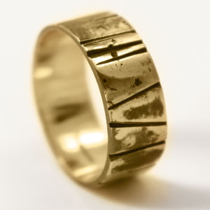 8mm Hand Cut Oxidised 18ct Gold 'Glenclach' Ring - rings